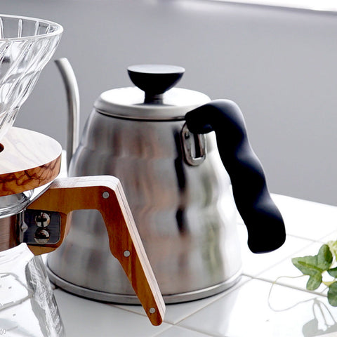 Hario v60 Glass Server Olivewood from Filter - Lifestyle Image