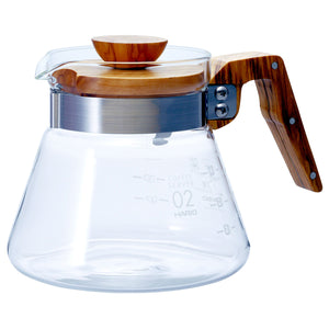 Hario v60 Glass Server Olivewood from Filter - Product Image
