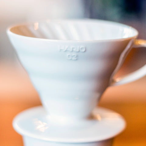 Hario V60 White Ceramic Coffee Dripper from Filter - Lifestyle Image