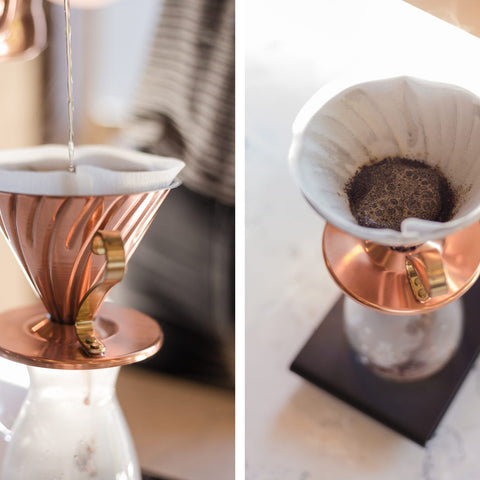 Hario V60 Copper Coffee Dripper from Filter - Lifestyle Image