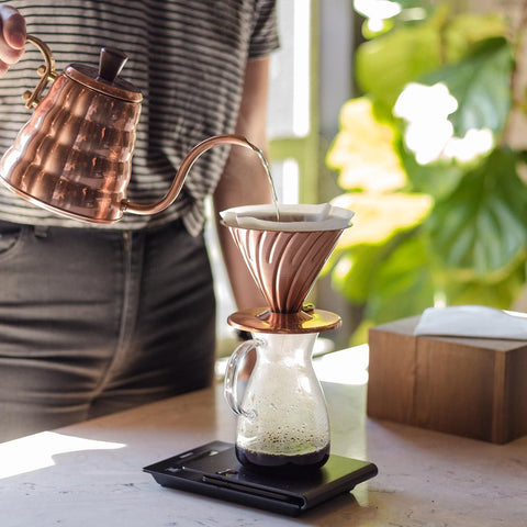 Hario v60 Buono Copper Kettle from Filter - Lifestyle Image