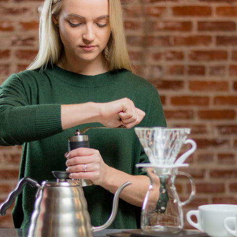 Porlex Mini Stainless Steel Coffee Grinder from Filter - Lifestyle Image