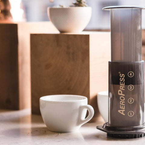 Aero Press Coffee Maker with mug from Filter - Lifestyle Image