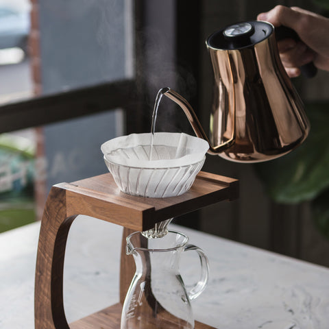 Pourover Stand stagg kettle pouring from Filter - Lifestyle Image