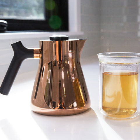 Fellow Raven Kettle copper w/ tasting glass from Filter - Lifestyle Image