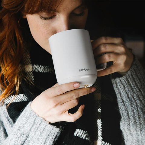 Ember Ceramic Mug sipping from Filter - Lifestyle Image