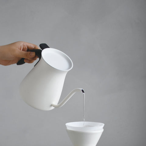 Kinto Pour Over Kettle white pour from Filter - Lifestyle Image