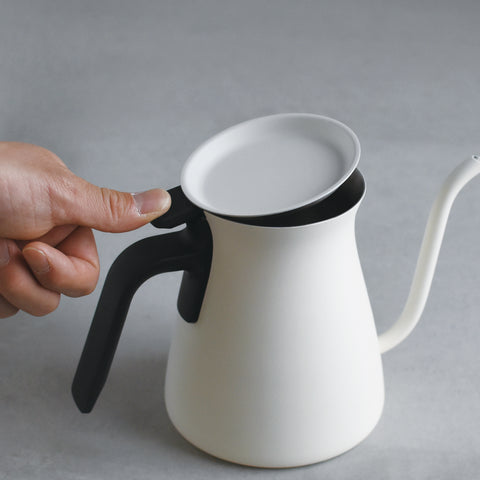 Kinto Pour Over Kettle white lid from Filter - Lifestyle Image