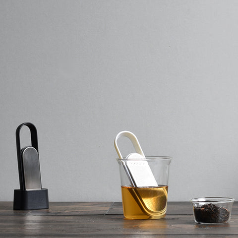 Kinto Loop Tea Strainer steeping from Filter - Lifestyle Image