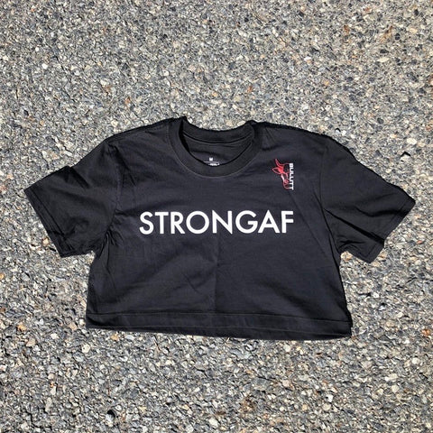 StrongAF Cropped Tee - Black/White