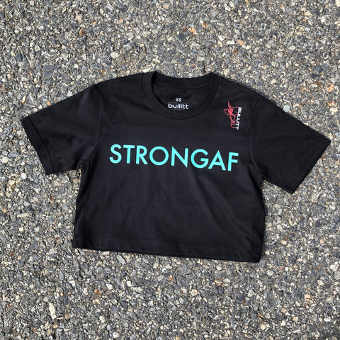 StrongAF Cropped Tee - Black/Green