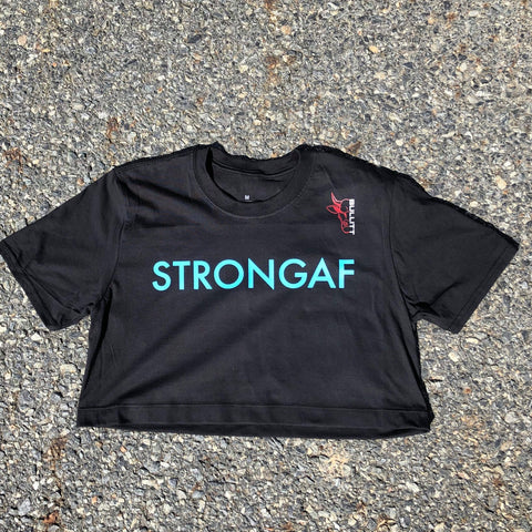 StrongAF Cropped Tee - Black/Blue