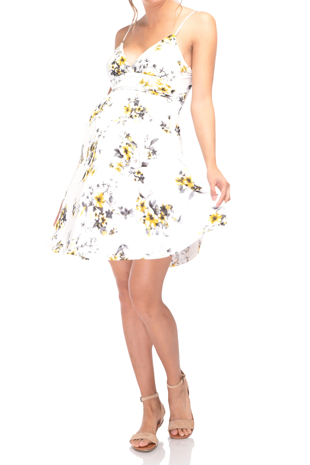 Flower Printed Sweetheart Short Dress