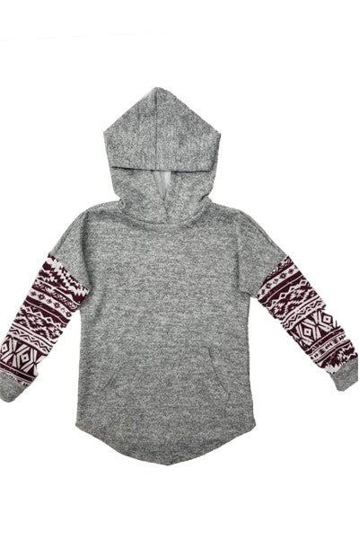 Kids Aztec Print Sleeve Hoodie With Pocket