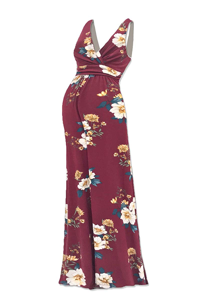 Sleeveless Flower Printed V Neck Maxi Dress