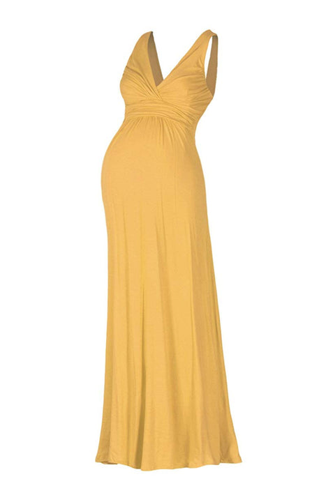 Sleeveless V Neck Maxi Dress