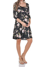 3/4 Sleeve Flower Printed Knee Length Dress