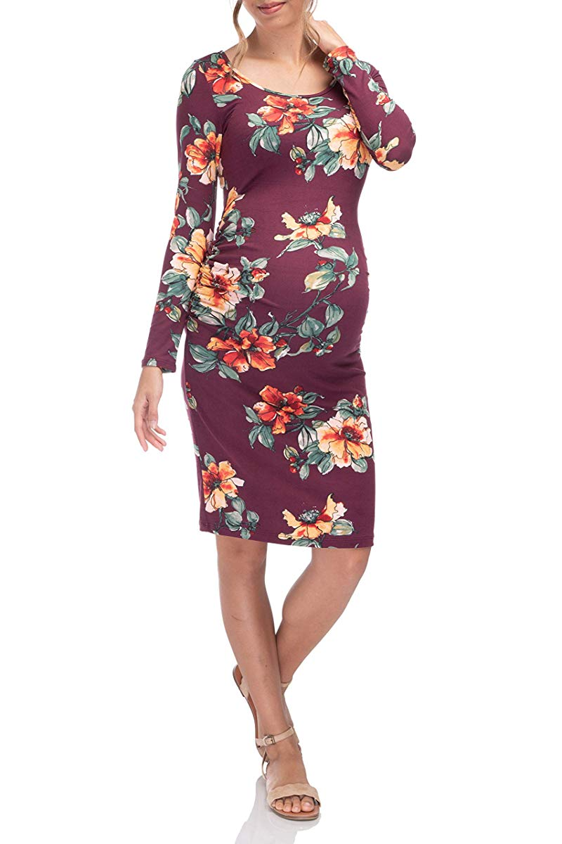 Flower Printed Long Sleeve Ruched Mid Length Dress