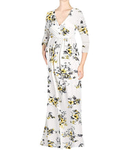 V-Neck 3/4 Sleeve Flower Printed Nursing Maxi Dress