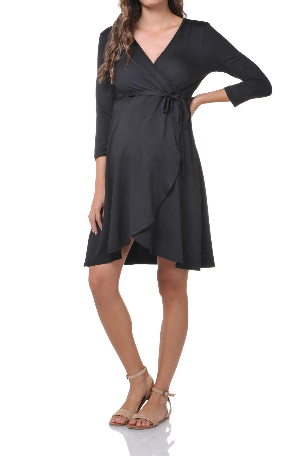 3/4 Sleeve Solid Nursing Dress