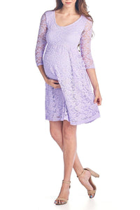 3/4 sleeve Knee Length Lace Dress - BEACHCOCO