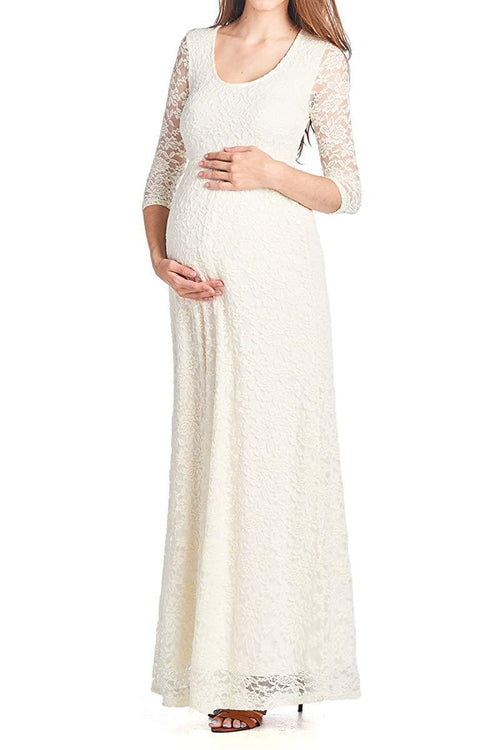 3/4 sleeve Maxi Lace Dress - BEACHCOCO