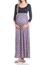 3/4 Sleeve Printed Maxi Dress - BEACHCOCO