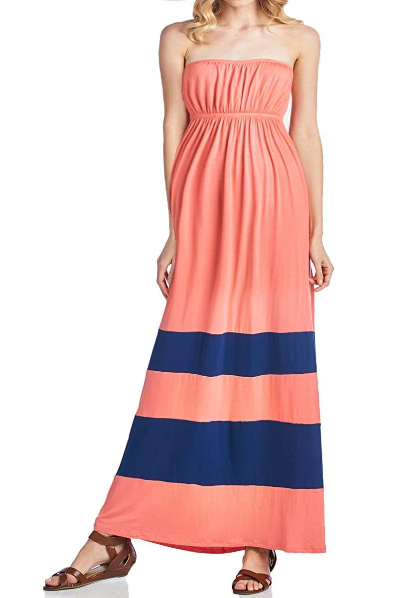 BEACHCOCO-Comfortable Color-block Tube Maxi Dress-[collection_title]-Beachcoco-maternity-Coral/Navy-Small-maternity-clothing