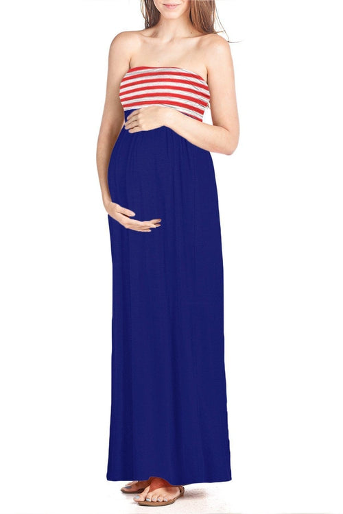Flag Printed Maxi Tube Dress - BEACHCOCO