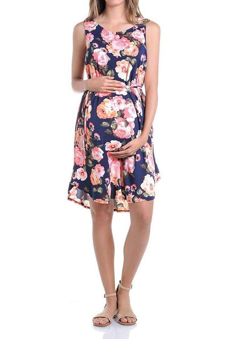 BEACHCOCO-Flower Print Sleeveless Loose Tank Dress with Tie Belt-[collection_title]-Beachcoco-maternity-Multi 01 Navy-Small-maternity-clothing