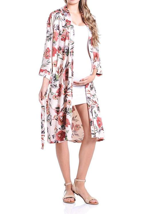 BEACHCOCO-Flower Printed Robe for Delivery/Nursing-[collection_title]-Beachcoco-maternity-Blush Flower-Small-maternity-clothing