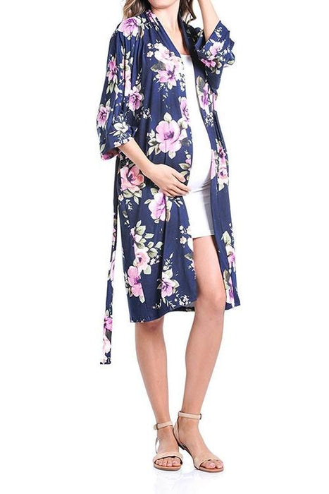 BEACHCOCO-Flower Printed Robe for Delivery/Nursing-[collection_title]-Beachcoco-maternity-Navy Flower-Small-maternity-clothing