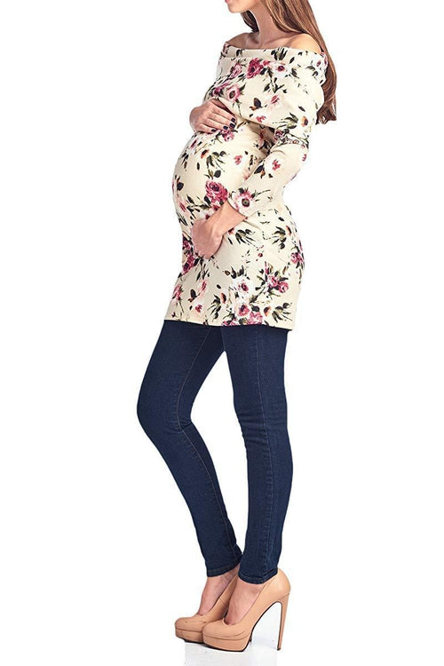 Flower Printed Tunic Length Knit Top - BEACHCOCO