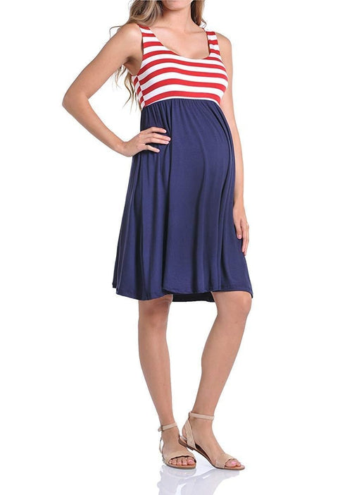 Knee Length Flag Tank Dress - BEACHCOCO