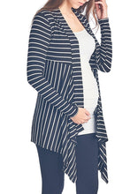 Open-front Stripe Rib-cardigan - BEACHCOCO