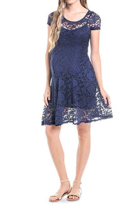 BEACHCOCO-See-Through Lace Dress-Dress-Beachcoco-maternity-Navy-Small-maternity-clothing
