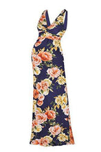 Sleeveless Flower Printed V Neck Maxi Dress - BEACHCOCO