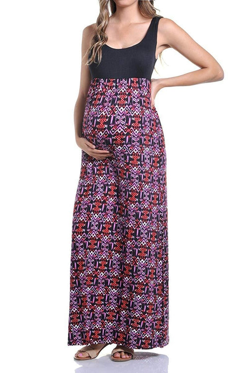 Sleeveless Maxi Empire Waist Printed Tank Dress - BEACHCOCO