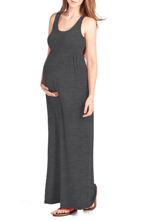 Solid Color Maxi Tank Dress - BEACHCOCO