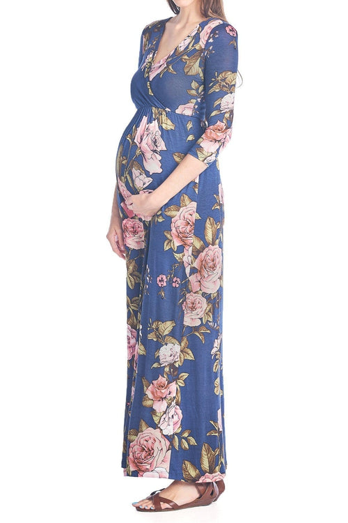 V-Neck 3/4 Sleeve Flower Printed Nursing Maxi Dress - BEACHCOCO