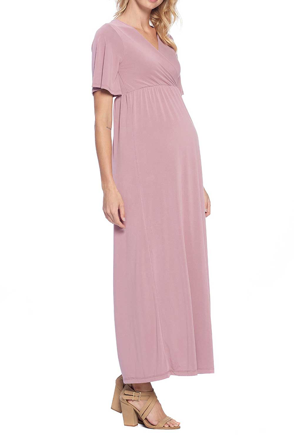 Maternity Soft Vegan Silk Modal Comfortable Kimono Maxi Dress