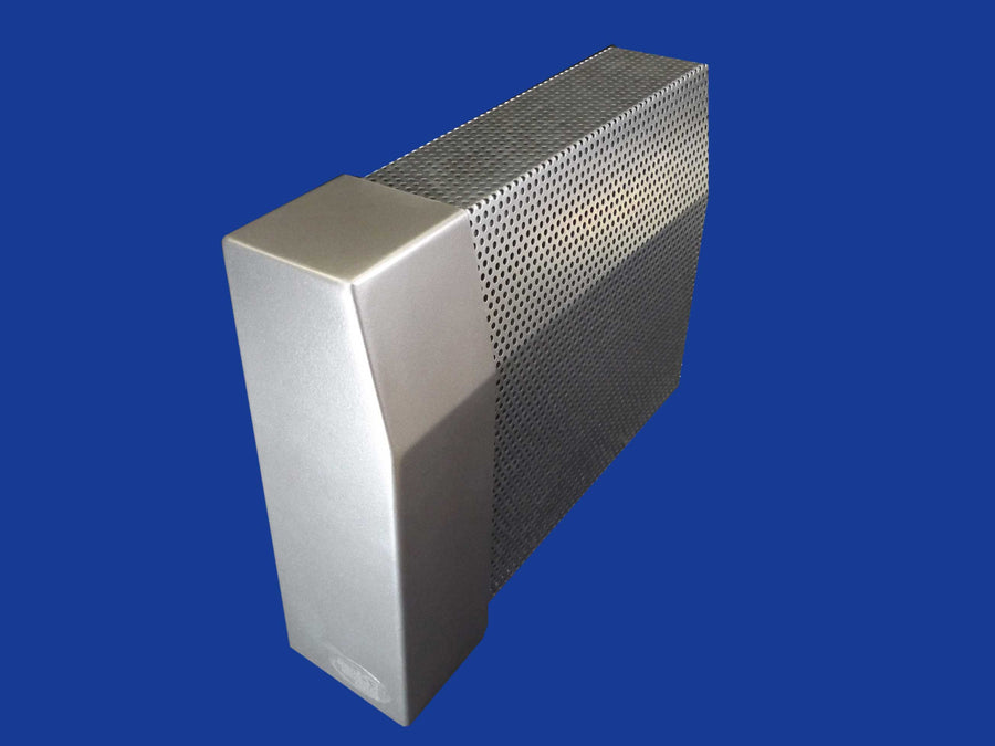 EZ Snap Baseboard Heater Cover Tall Galvanized Left Endcap Closed