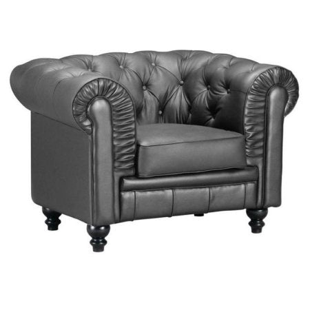 Brika Home Leather Armchair in Black