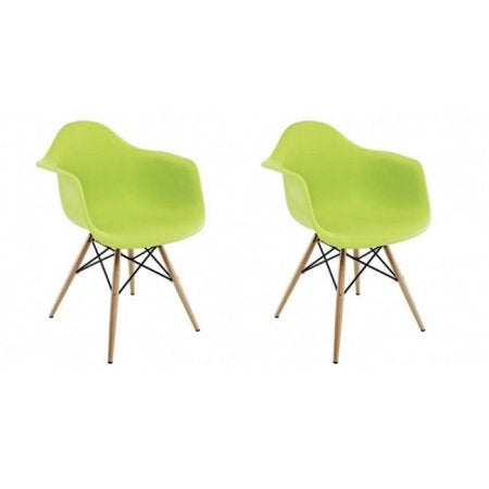 Lime Green Plastic Armchair with Wood Eiffel Legs