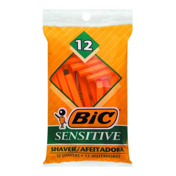 BIC 12-Pack Sensitive Shaver Disposable Razors