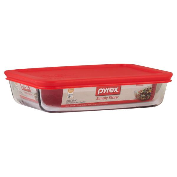 Pyrex Simply Store 3 Cup Rectangular Dish With Red Lid