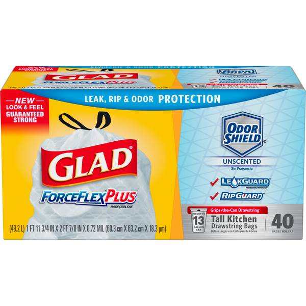 Glad ForceFlex Plus Drawstring Unscented White Odor Shield 13 Gallon Trash Bags