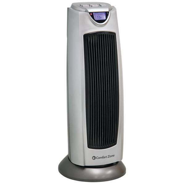 "Comfort Zone Digital Tower Heater 21"" Silver"