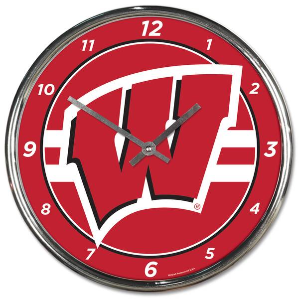 All Star Sports Wisconsin Chrome Clock