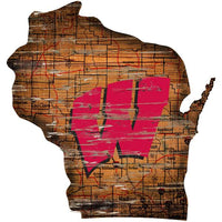 All Star Sports Wisconsin Badgers Distressed State Sign